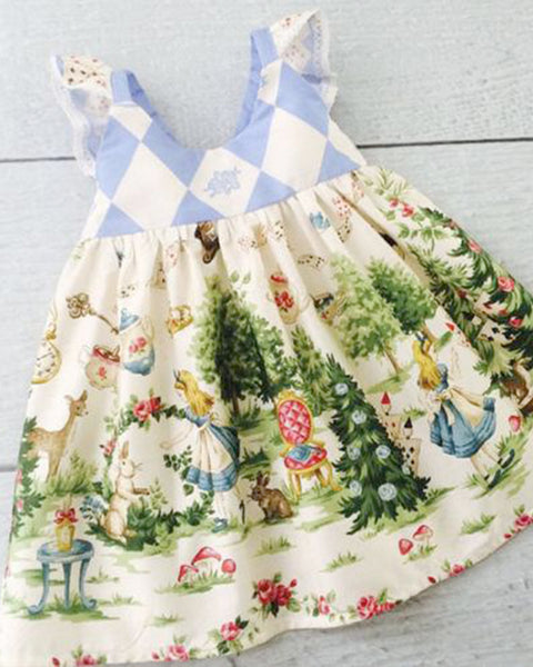Vintage Print Alice in Wonderland Sundress