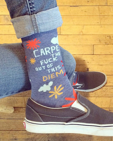 """Carpe the F*** Out of this Diem"" men's socks by Blue Q"