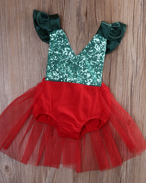 Glamorous Christmas Tutu Romper with Sequins