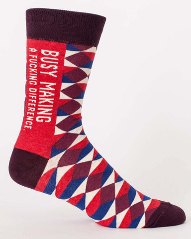 """Busy Making a F***ing Difference"" men's socks by Blue Q"