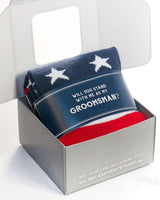 """Will You Stand... as my Groomsman?"" Navy Label with American Flag Socks ©"