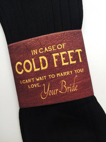 """In Case of Cold Feet"" Socks Label- Bride's Gift to Groom"