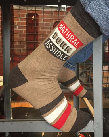 """Natural Born Asshole"" men's socks by Blue Q"