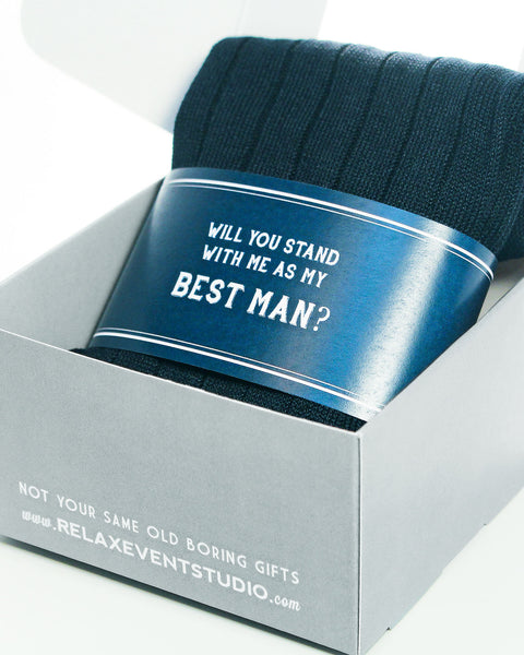 """Will You Stand... as my Best Man?"" Navy Label with Socks Pairing ©"