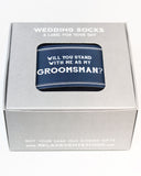 """Will You Stand... as my Groomsman?"" Navy Label with Socks Pairing ©"