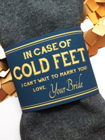 Navy & Gold In Case of Cold Feet Label on Gold