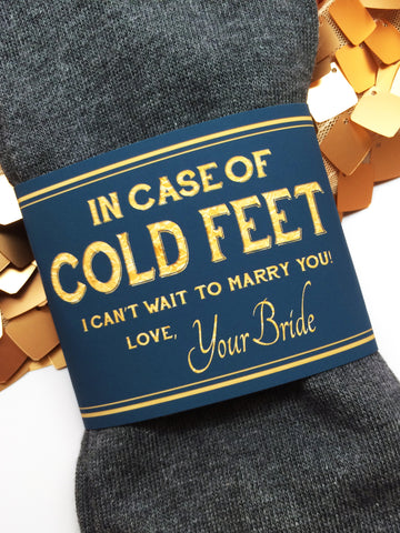 """In Case of Cold Feet"" Socks Label- Navy & Gold Bride's Gift to Groom"