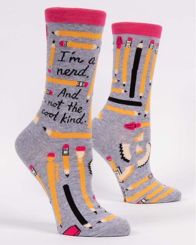 """I'm a Nerd. And Not the Cool Kind."" women's socks by Blue Q"
