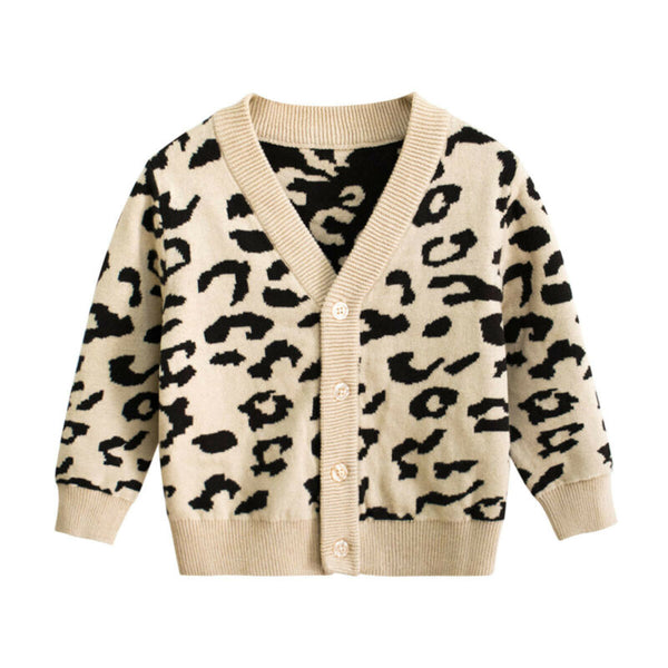 New Baby Kids Girls Leopard Autumn Coat Cotton Sweater Long Sleeve Cardigans Jacket 1-7T