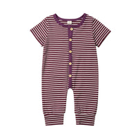 Striped Button Down Baby Romper- Unisex- More Colors