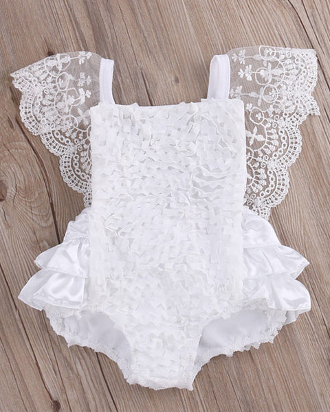 White Lace Romper with Ruffles