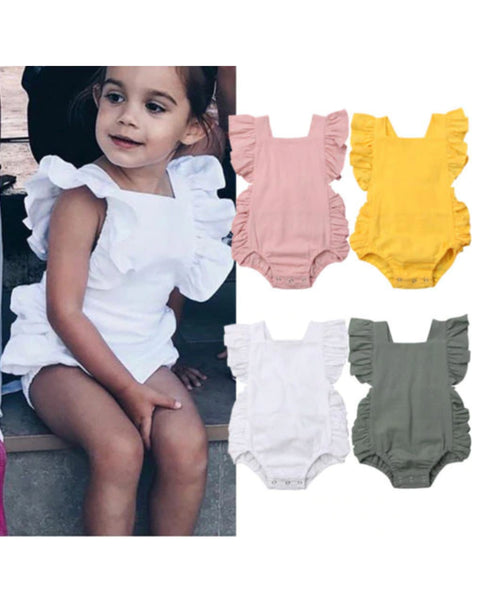 Summer Romper with Ruffled Sleeves- Sizes up to 24M