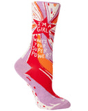 """I'm a Girl... What's Your Superpower?"" Women's Socks"