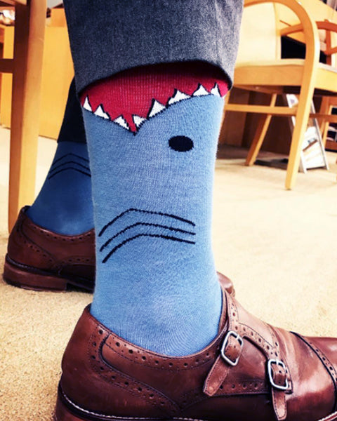Shark Leg Eater Socks for Men- Extended Size