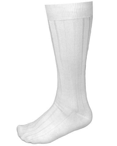 White Ribbed Luxury Men's Socks