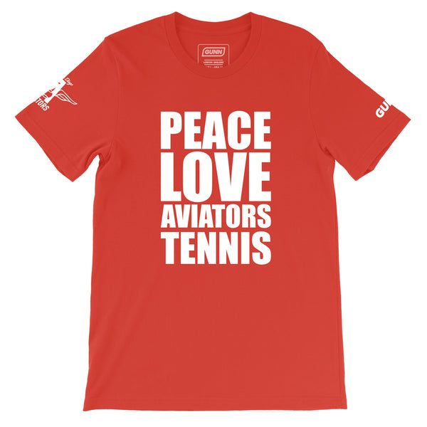 PEACE LOVE AVIATORS TENNIS Pro Tee - Red