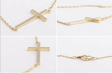 Horizontal cross pendant necklace