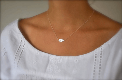 Horizental Hamsa Necklace