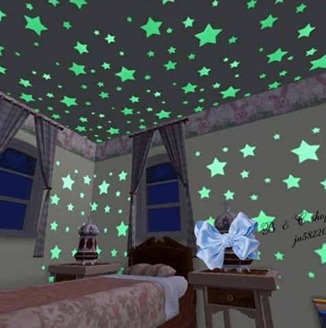 100 Fluorescent Glow In The Dark Romantic Stars Wall Stickers