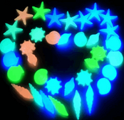 20X Glow In The Dark Starfish & Shell Stones