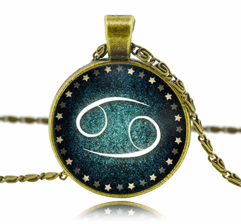 Zodiac Sign Glass Dome Necklace