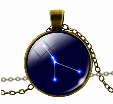 Zodiac Star Constellations Sign Glass Dome Pendant Necklace - Stars