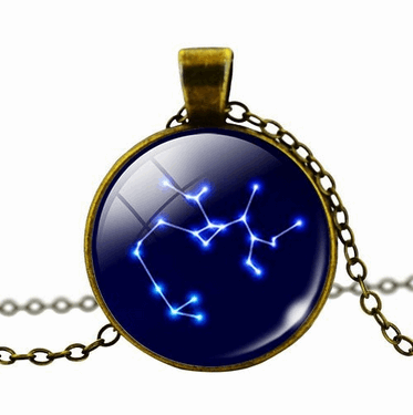 Zodiac Star Constellations Sign Glass Dome Necklace
