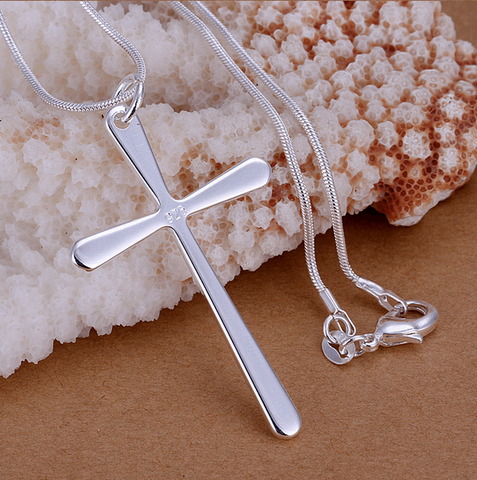Minimal Style Silver Cross Necklace