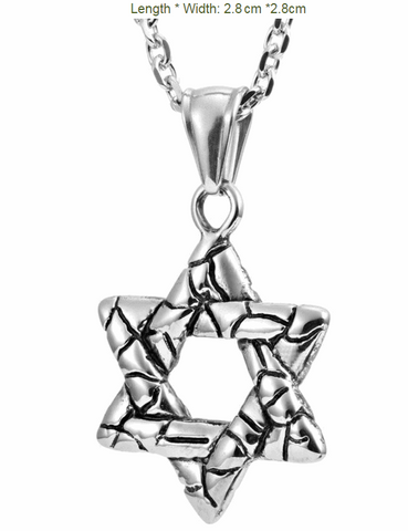 Stainless Steel Crack Syle Star of David Pendant Necklace