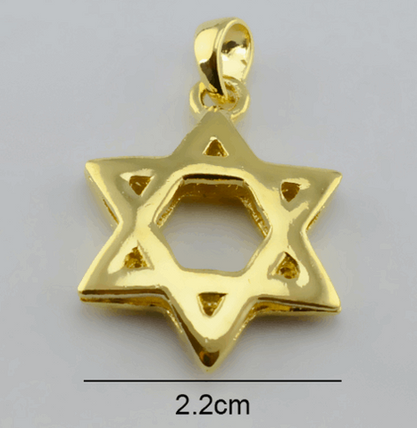Golden Star of David Pendant Necklace - New Design