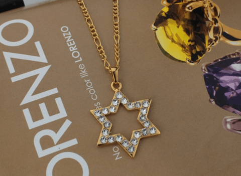 Rhinestone Golden Star of David Pendant Necklace - New Design