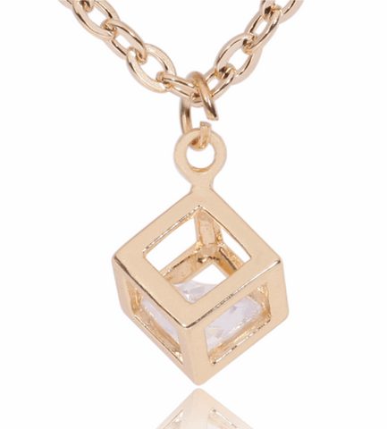 """Inside the box"" Fashion Pendant  Necklace"