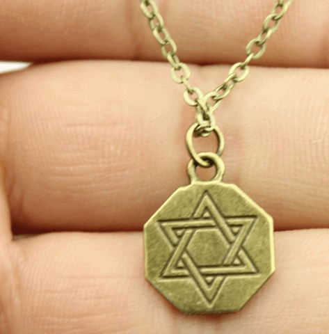 Carved Star of David Pendant Necklace