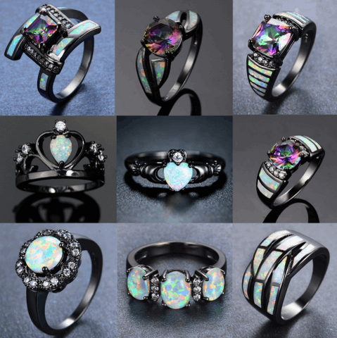 Blacked N Opal Rings