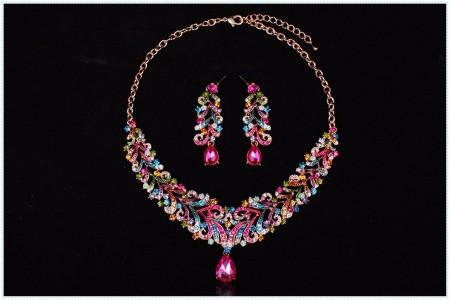 Majestic Crystal Set Collar Necklace + Earrings
