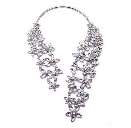 Futuristic Crystal Flower Colar Necklace (4 colors)
