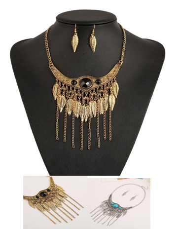 Feather Set Collar Necklace + Earings