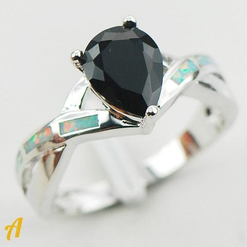 Black Stone N Silver Ring Collection