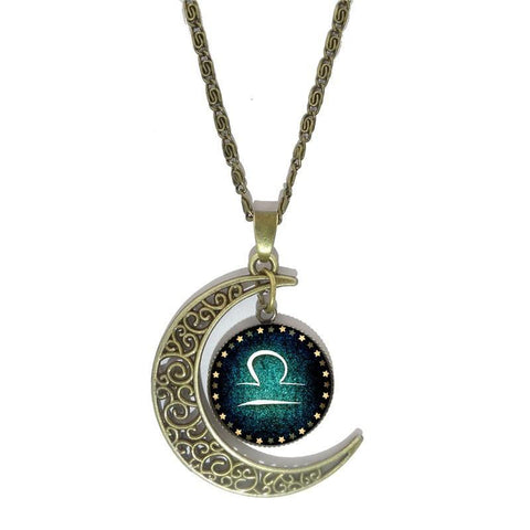 Zodiac Sign Glass Dome Necklace - Moon