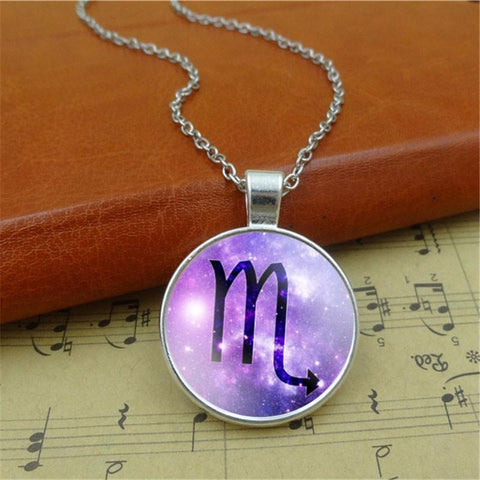 Zodiac Sign Glass Dome Pendant Necklace - purple