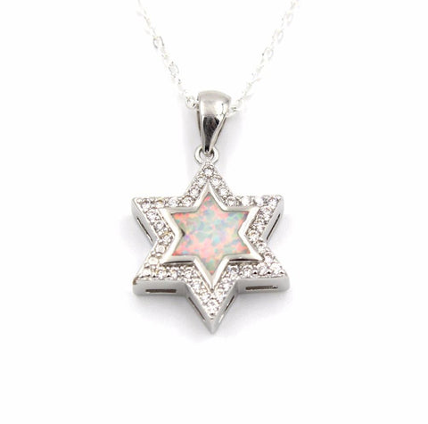 Opal Star Of David Pendant Necklace  - New Design