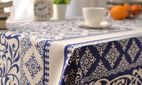 Blue Mediterranean Print Table Cloth
