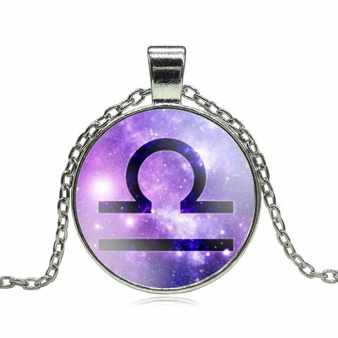 Zodiac Sign Glass Dome Necklace - purple