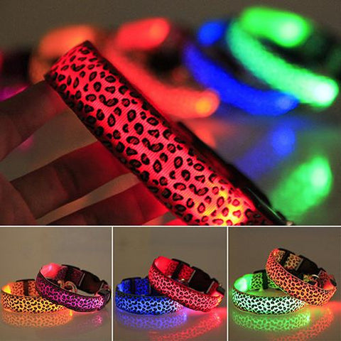 Adjustable LED Collar -  Leoperd Design (S-XL)