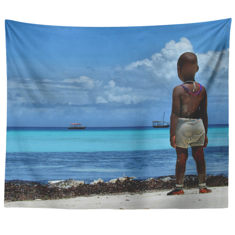Watching The Horizon -  Original and Exclusive wall art Tapestry