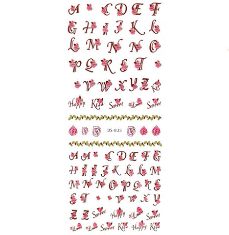 Floral Letters Waterslide Nail Decals / DS-033