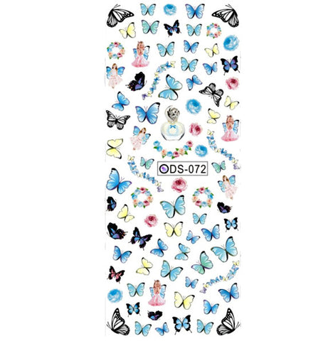 Blue Butterfly Nail Water Decals / DS-072