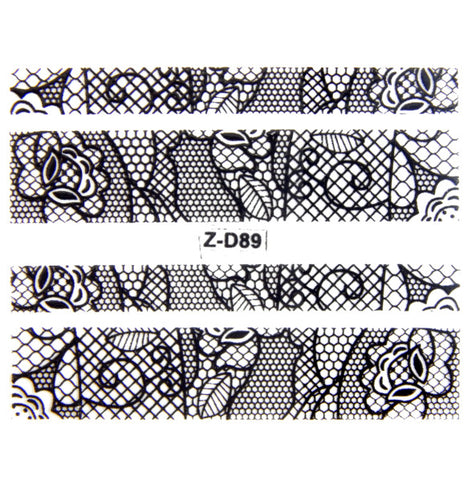Lace Nail Adhesive Sticker / Black / D89