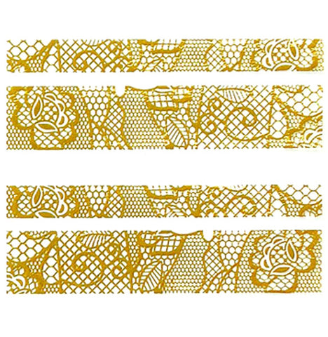 Lace Nail Adhesive Sticker / Gold / D89