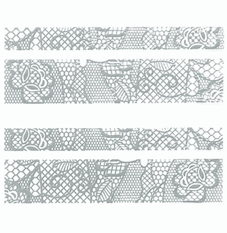 Lace Nail Adhesive Sticker / Silver / D89